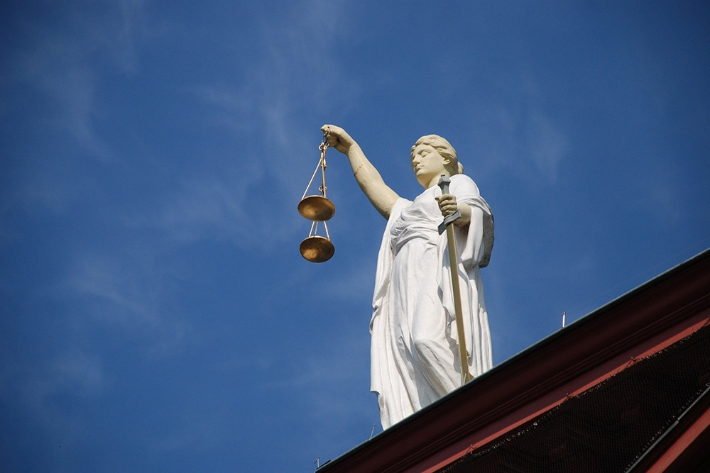 statute of person holding scales